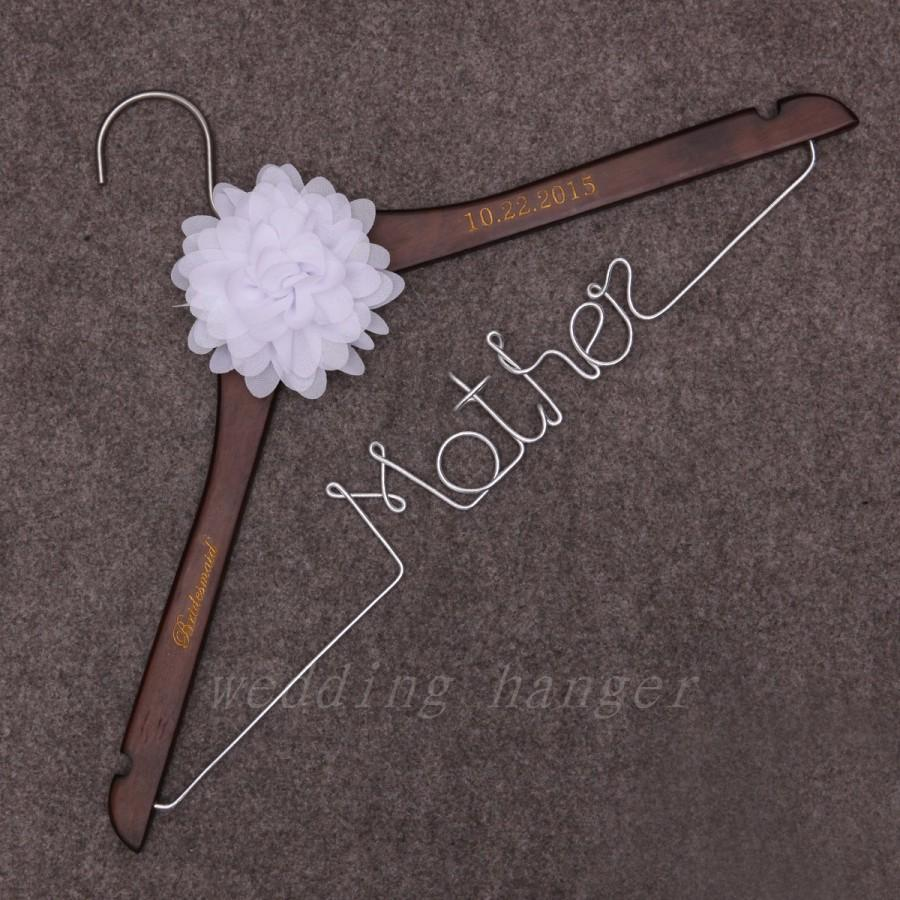 Wedding hangers mother wire hanger bridemaids dress for Personalized wire wedding dress hanger