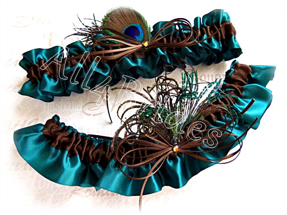 Mariage - Peacock Bridal Garters - Teal and Chocolate Brown - Peacock Feathers Wedding Accessories - Something Blue