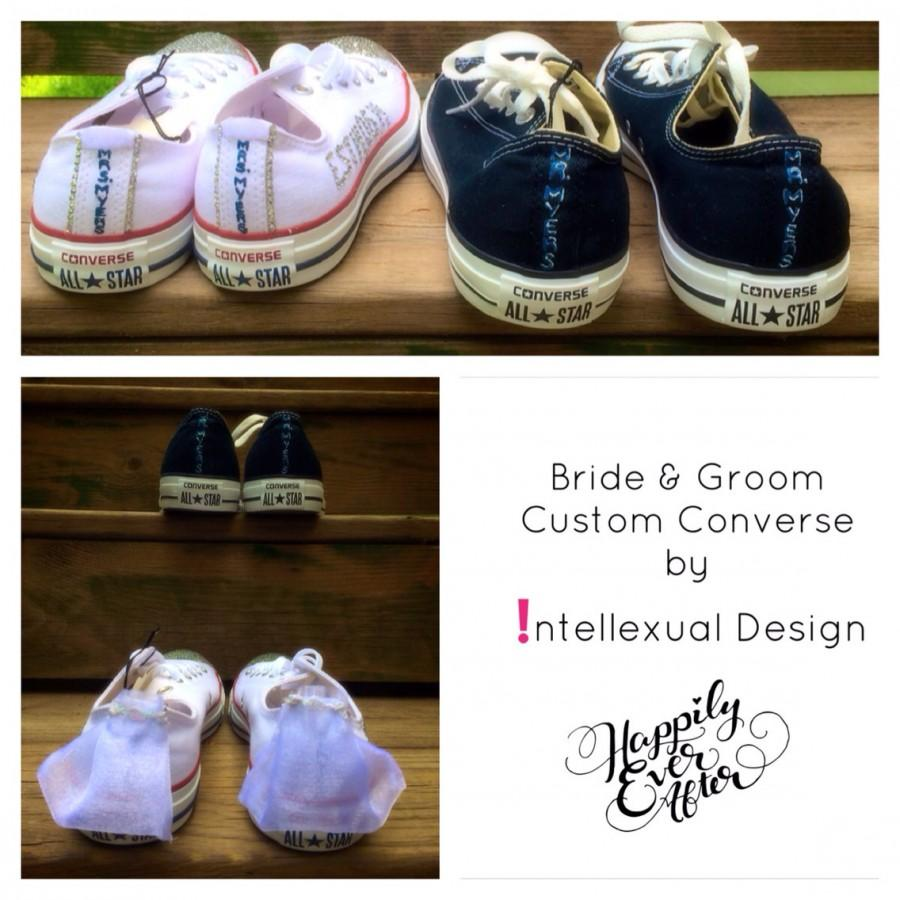 69f25672bc2b Wedding Converse Bride and Groom Custom Painted Shoes WITH Mini Veils for  Bride