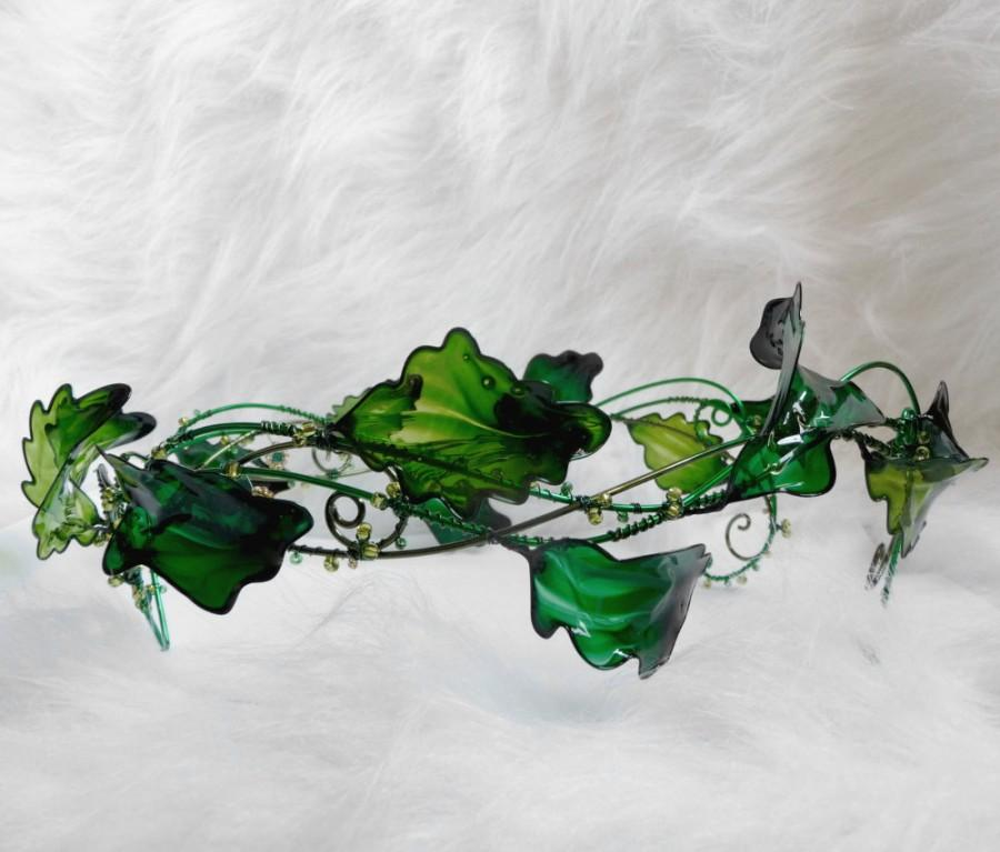 Wedding - Summer crown in green, circlet, wedding accessories, handmade crown, halloween costume