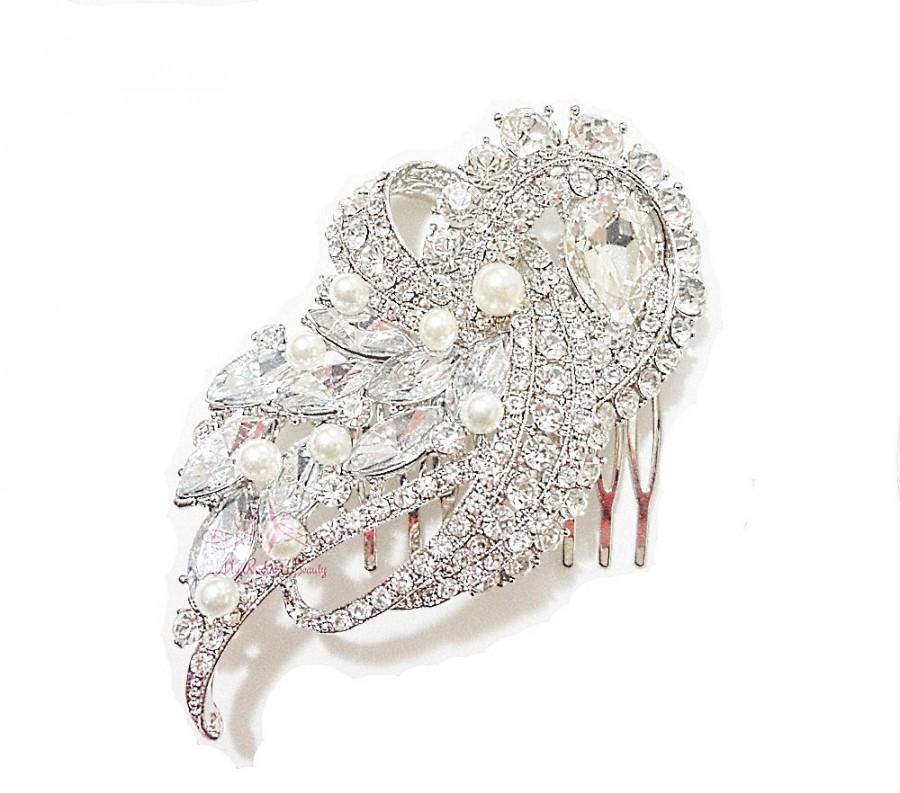 Wedding - Wedding Flower Bouquet Pearl Hair Comb, Swarovski Crystal Comb, Wedding Comb, Bridal Comb, Wedding Rhinestone Comb, Bridal Hair Comb HC0007