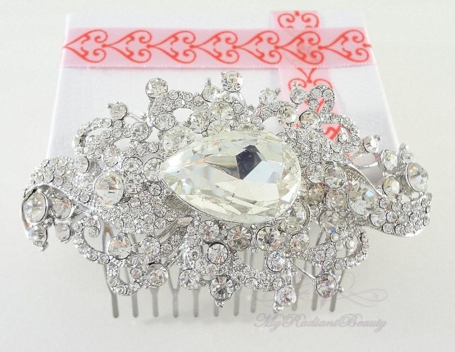 Wedding - Bridal Comb, Wedding Swarovski Comb, Unique Beautiful Bridal Crystal Rhinestone Hair Comb, Bridesmaid Hair comb, My Radiant Beauty - HC0018