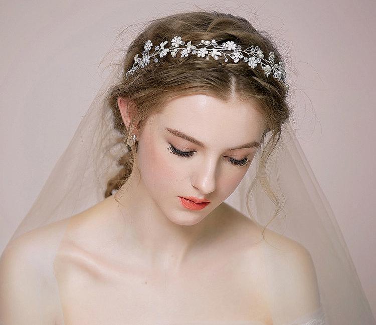 Bridal Fl Hair Vine Tiara Rhinestone Headpiece Headband Wedding Accessory Silver Halo Weddings