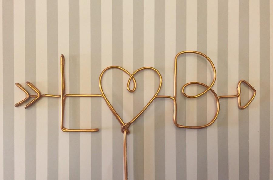 Свадьба - Wire Cake Topper, Personalized Cake Topper, Custom Cake Topper, Arrow cake topper, Initials Cake Topper,Heart cake topper,rustic cake topper
