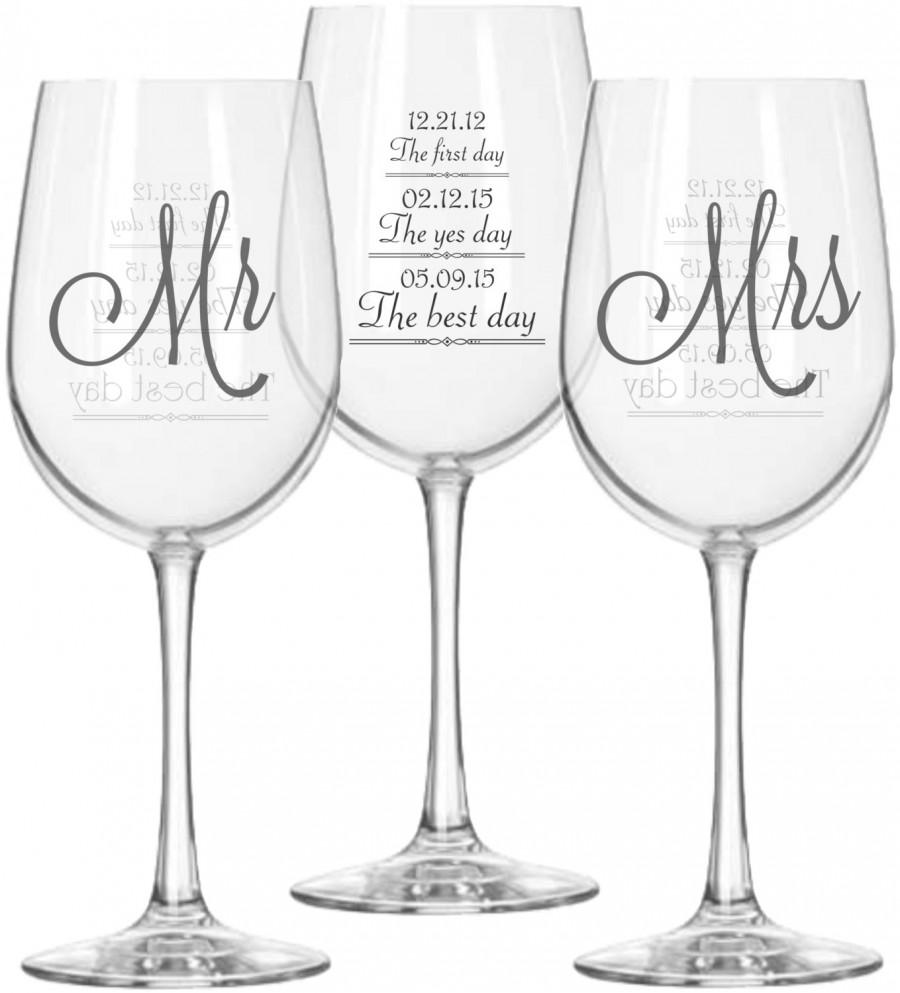 Wine As Wedding Gift: Mr And Mrs Wine Glasses (2) With First Day, Yes Day And
