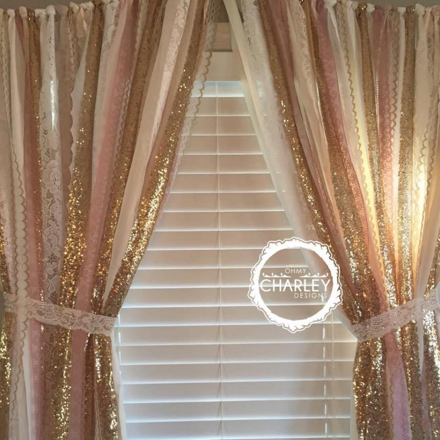 Pink Gold Sparkle Sequin Garland Curtain With Lace Nursery Decor Cur