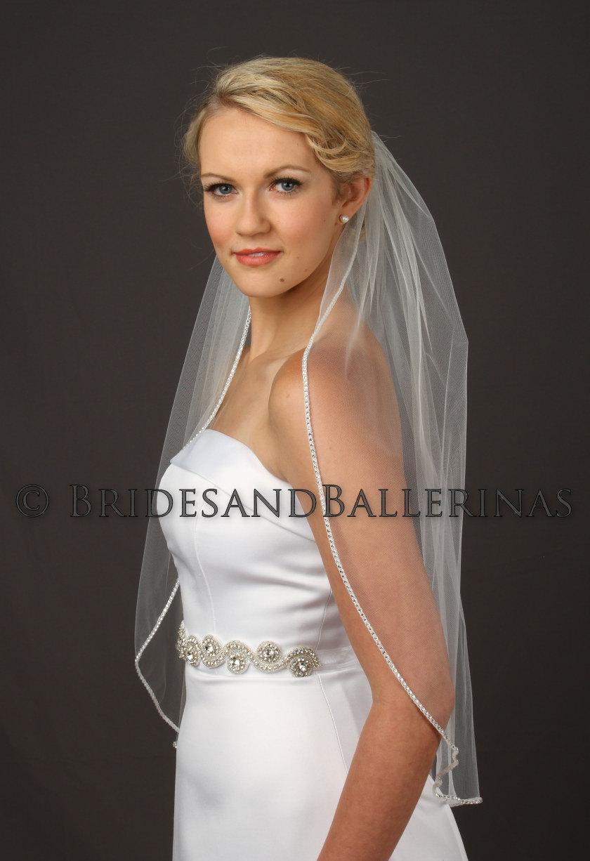 Wedding - Waist Length Wedding Veil, Rhinestone Edge Bridal Veil, 1 Layer, Extra Sparkle!