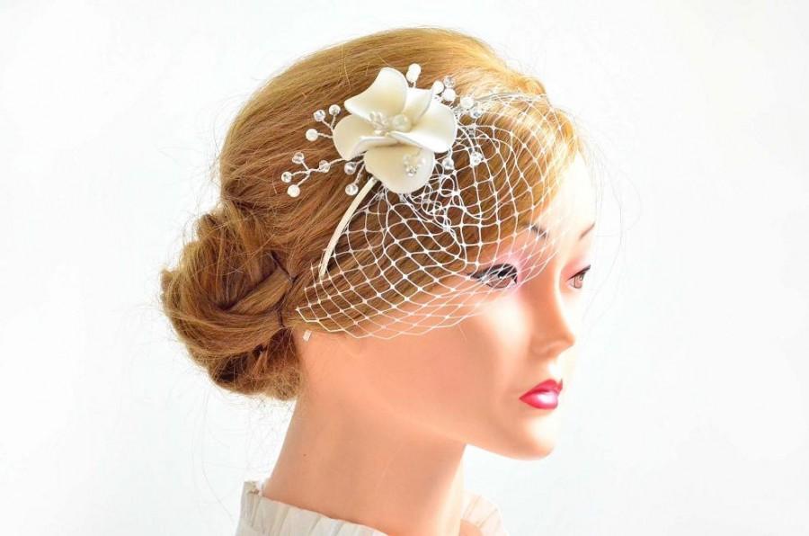 Petite Birdcage Veil With Headpiece Bridal Hair Clip With Mini Veil ...