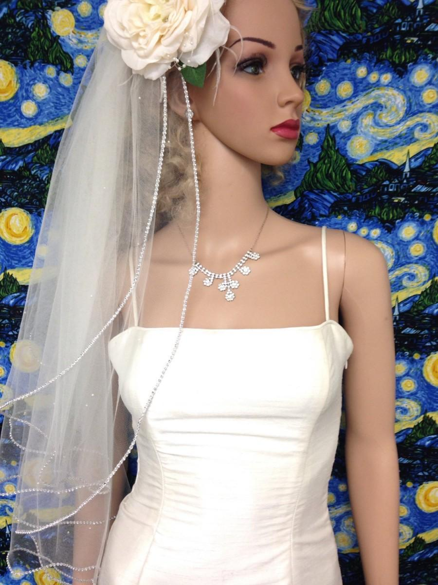 Wedding - ON SALE, Rhinestone Edge Veil,  2-tier, Elbow / Waist Length, Very beautiful
