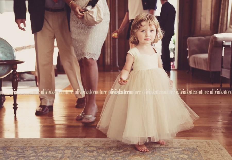 زفاف - Flower Girl Dress Natural Champagne