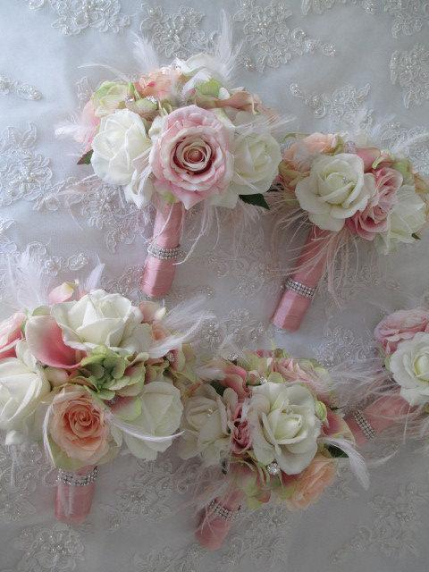 Hochzeit - Great Gatsby Wedding Brooch Bridal Bridesmaid Glitz and Glam Bouquet with Blush Pink White Feathers Set
