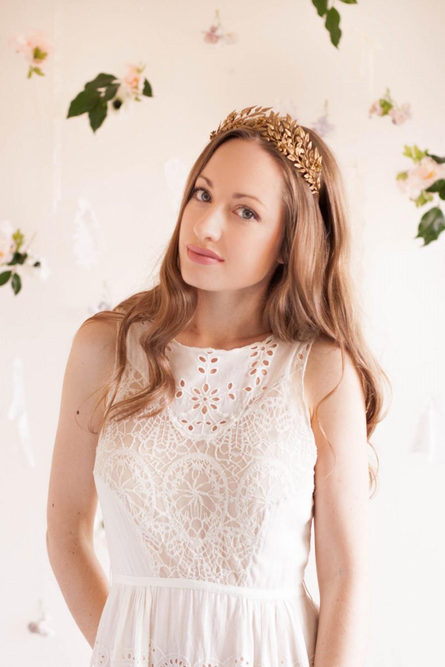 Mariage - Edwardian leaf tiara, vintage tiara, gold leaf halo, silver leaf headband, Greek goddess, German tiara, leaf crown, boho halo, woodland #104