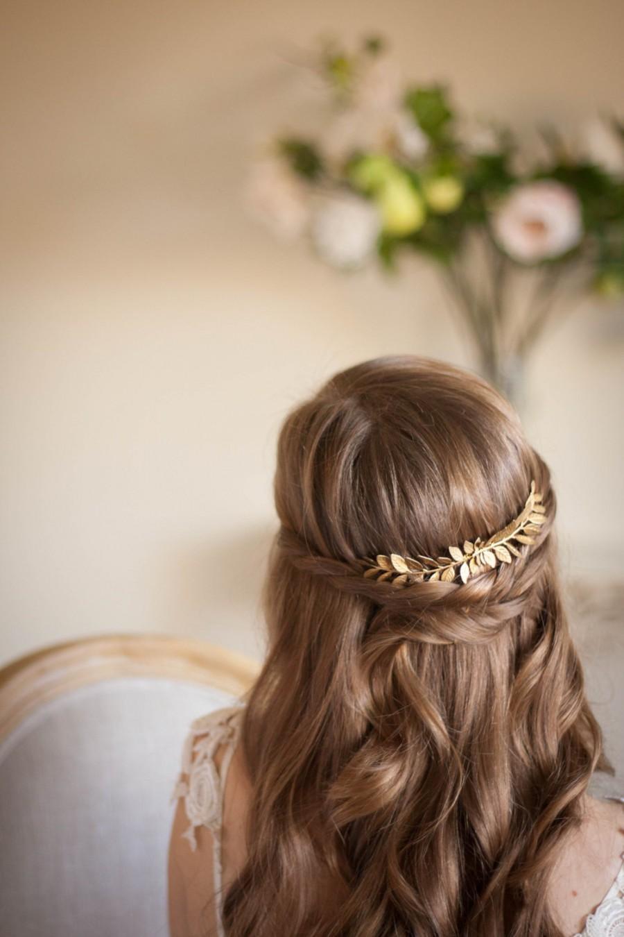 Wedding - Laurel Leaf Comb, Gold comb, Gold leaf comb, Gold Leaf Headpiece, gold leaf clip, leaf comb, bridal comb, grecian comb, vintage, boho #200