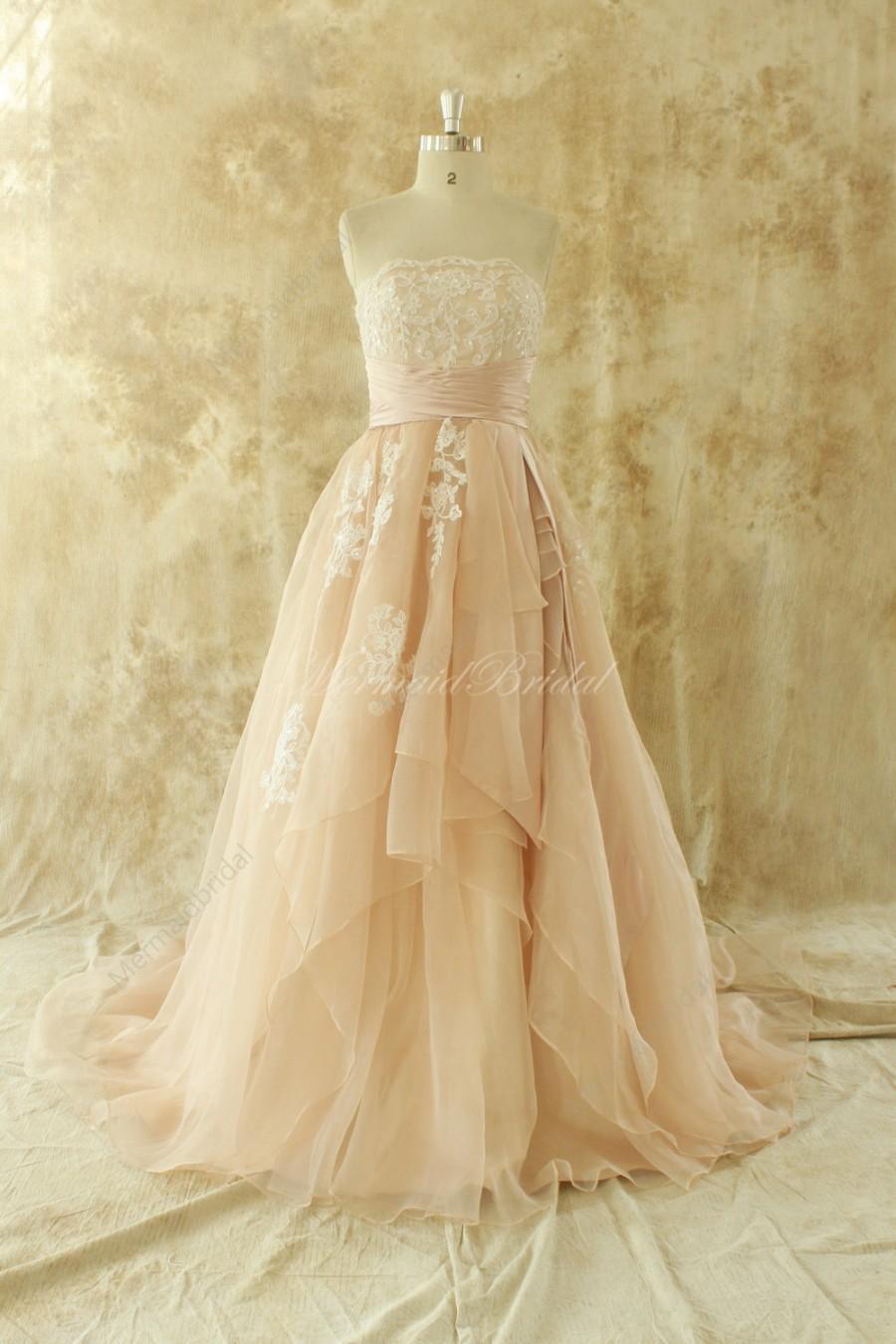 Simple blush a line organza lace wedding dress 2424481 for Lace blush wedding dress