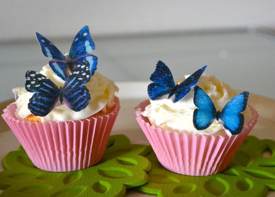 Wedding Cake Topper 12 Blue Edible Butterflies
