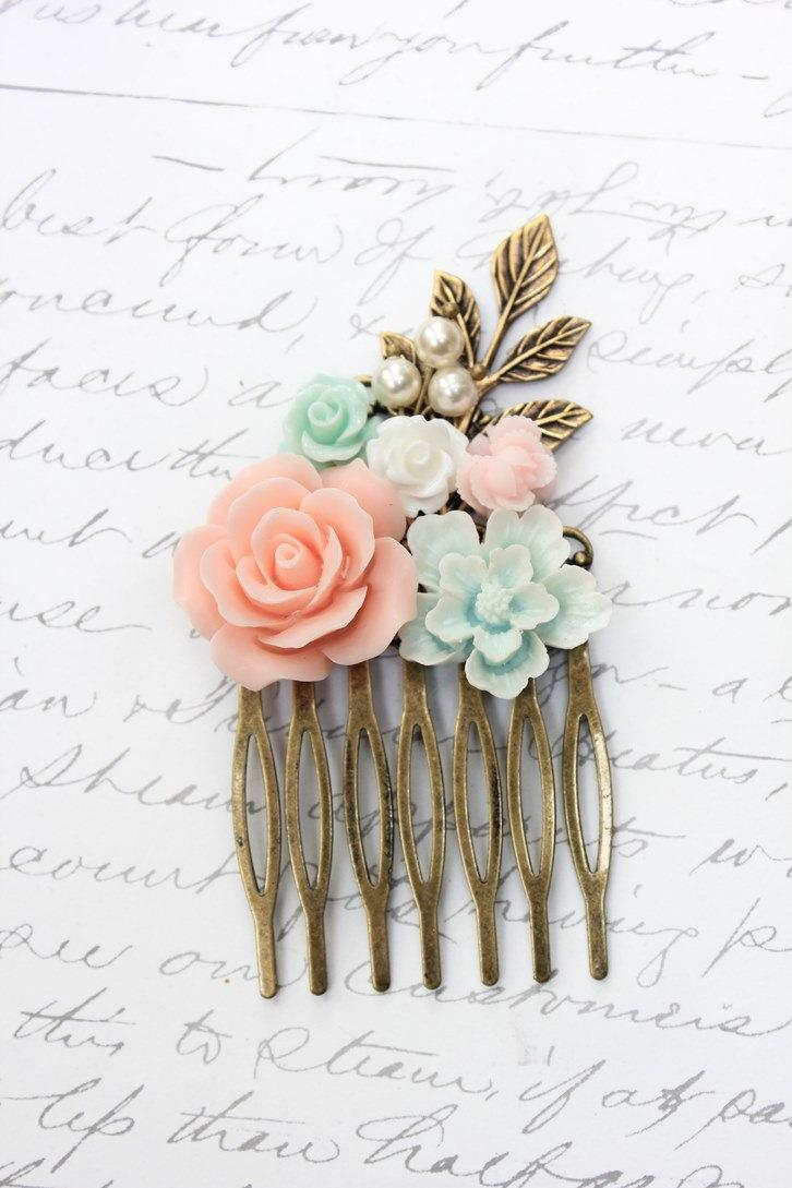 Hochzeit - Romantic Bridal Hair Comb Pink and Aqua Floral Collage Comb Wedding Rose Comb White Pearls Bridal Hair Accessories Pretty Bridesmaids Gift