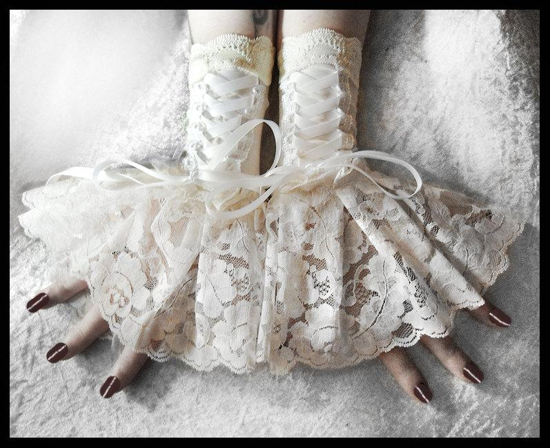 Hochzeit - Solstice Corset Laced Up Fingerless Glove Wrist Cuffs - Ivory Lace White Ribbon - Lolita Rococo Fusion Bellydance Regency Aristocrat Bridal