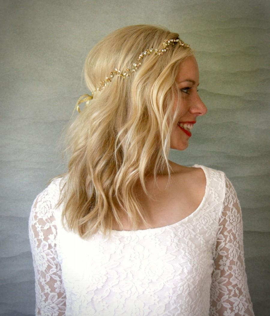 Hochzeit - Wavy Gold Bridal Hair Vine. Wedding Hair Accessory, Veil Alternative Accessory, Gold Headband.