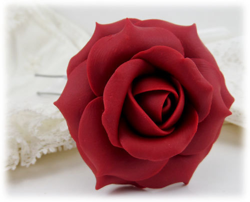 Large Red Rose Hair Pin More Colors Red Rose Hair Flowers Red