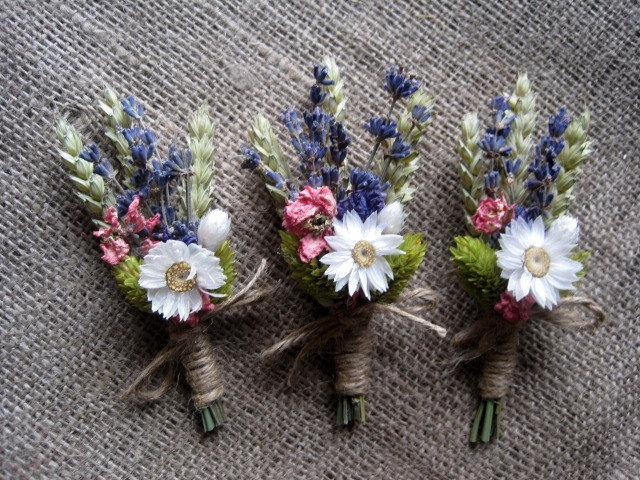 Summer Dried Pastel Boutonnieres Set 6 Groomsman Wedding Boutonniers Rustic Groom Wedding