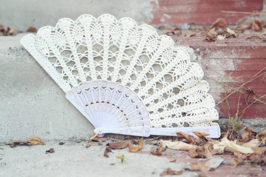 Lace Fan- Hand Held Fan- Handmade Lace Hand Fan- Folding
