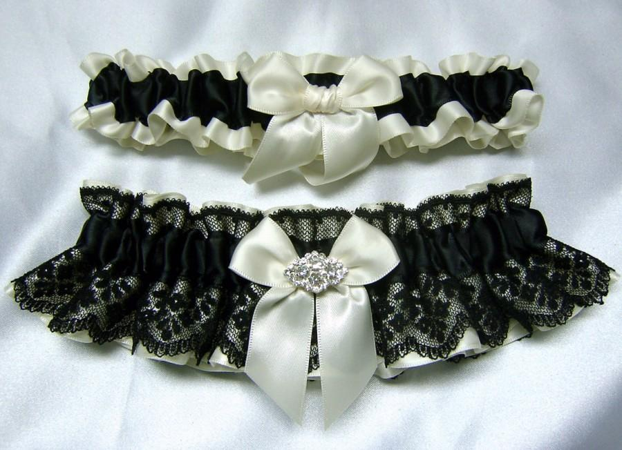 Свадьба - Ivory Satin and Black Lace Wedding Garter Set - W/ Real Crystal Embellishment - Toss Garter Included - Plus Size Too