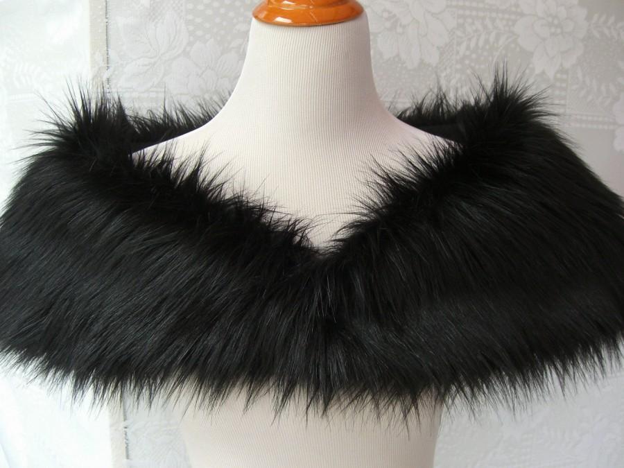 Jet Black Long Fox Faux Fur Shrug Shawl Stole Wedding Shoulder Wrap