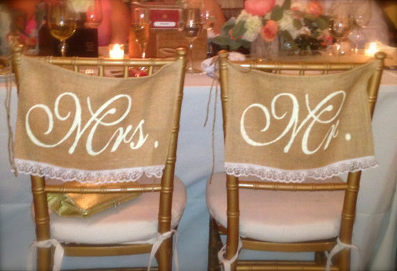 Burlap Wedding Chair Signs Mr And Mrs Chair Signs Lace Wedding
