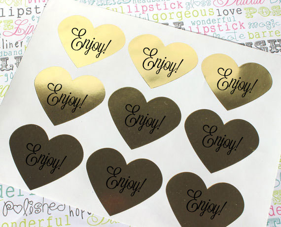 "Hochzeit - 120 Gold Heart Stickers - Enjoy! Candy Buffet Labels, Gold Foil Heart Labels for Wedding Favors, Invitations - 1.5"" x 1.5"""