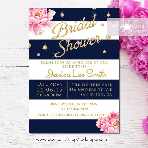 Mariage - Bridal Shower Invitation, Printable Bridal Shower Invite, Peony Invitation, Shower, DIY, Navy Stripes, Glitter, Birthday,  jadorepaperie