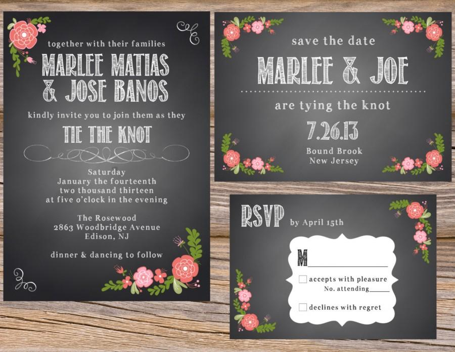 Spanish Rose Chalkboard Wedding Invitation Suite DIY Printable Custom Save  The Date RSVP Table Numbers