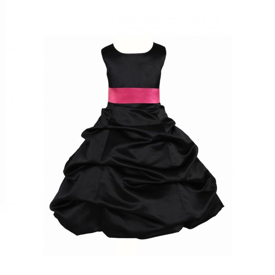 Mariage - Black Flower Girl Dress tie sash pageant wedding bridal recital children bridesmaid toddler childs 37 sash sizes 2 4 6 8 10 12 14 16 #806