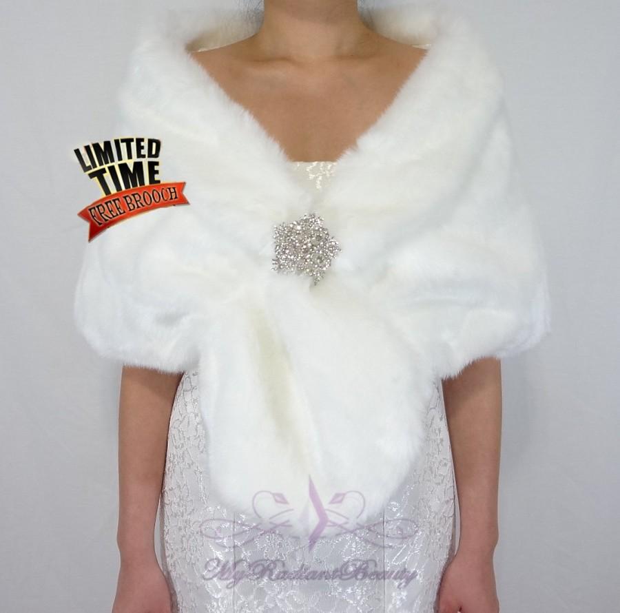 Wedding - Mink Fur Stole, Faux Fur Wrap, White Fur Shrug, Bridal Fur Stole, Wedding Stole, Wedding Fur Shawl, Bridal Wrap, Faux Fur Stole FS108-WHIs