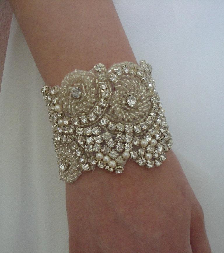 Hochzeit - Wedding Rhinestone Bracelet with Swarovski Pearls in Ivory or White for Brides or Bridesmaids - Ships in 1 Week