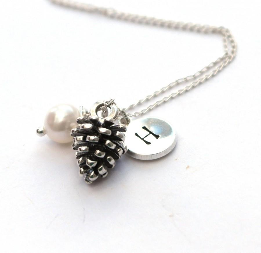 Wedding - Pine cone necklace - Christmas Gift Idea - Bridesmaid necklace - Initial necklace - Silver pine cone pendant - Nature necklace - Woodland