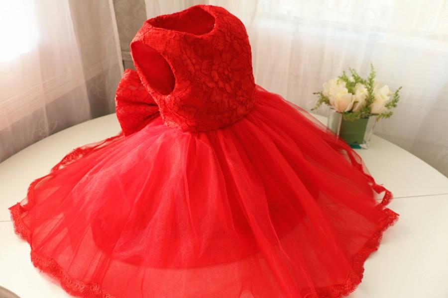 Hot Red Thanksgiving Dress Toddler Baby Christmas Newborn Pageant Tutu 1st Birthday PD087 1