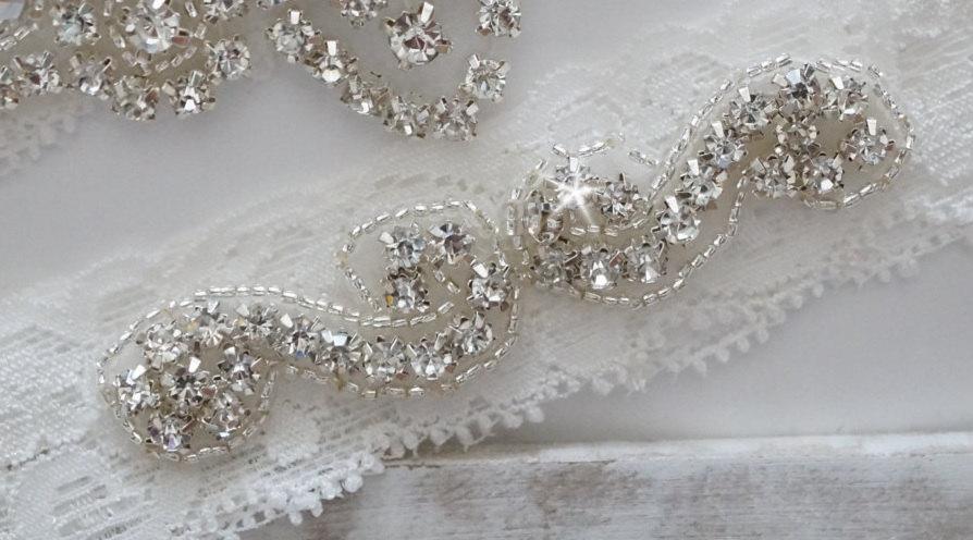 زفاف - Wedding Garter, Bridal Garter, Vintage Wedding, Stretch Lace Garter, Crystal Garter