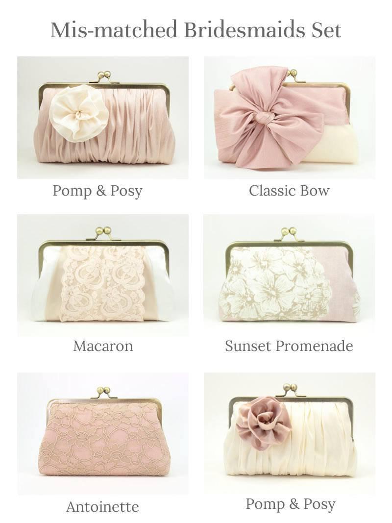 Mariage - Blush Bridesmaid Clutch Set