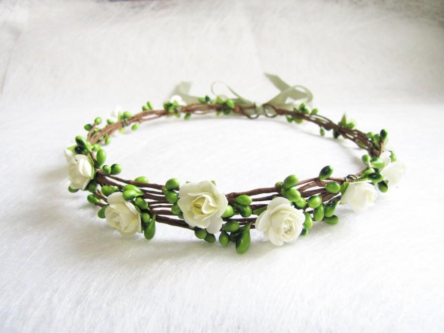 Hochzeit - Wedding Floral Crown, Ivory Flower Headband, Floral Head Wreath, Wedding Headband, Bridesmaid Flower Crown, Flower Girls Flower Crown