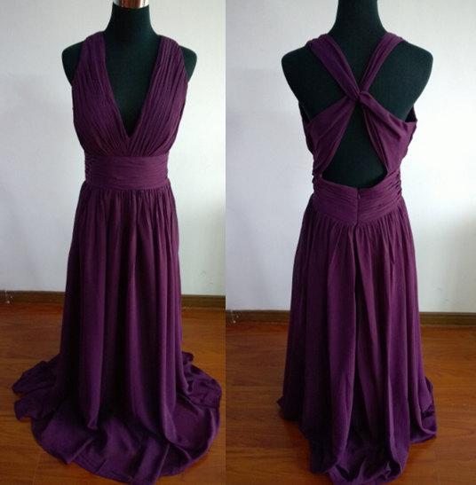 Mariage - Purple red bridesmaid dress long prom dress chiffon dress backless Long evening dress v neck red dress