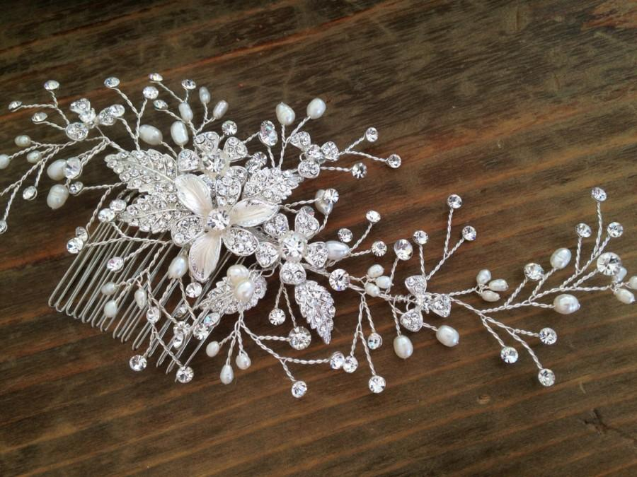 Свадьба - Bridal Hair comb with Fresh water pearls wedding hair comb,wedding Hair accesories,pearl Bridal Comb,Crystal wedding comb,bridal Head pieces