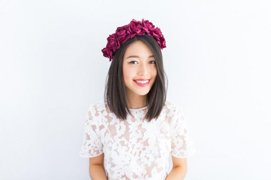 Свадьба - burgundy wine rose crown - Valentines maroon floral statement headpiece, santa monica, festival crown, oversize rose.