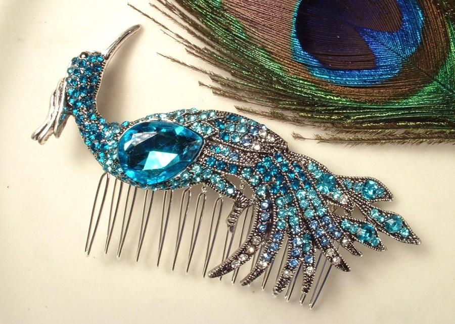Wedding - Turquoise Blue Rhinestone Peacock Bridal Hair Comb, Heirloom Teal Bird Silver Brooch to Large Headpiece Art Deco Aqua Blue Wedding Accessory