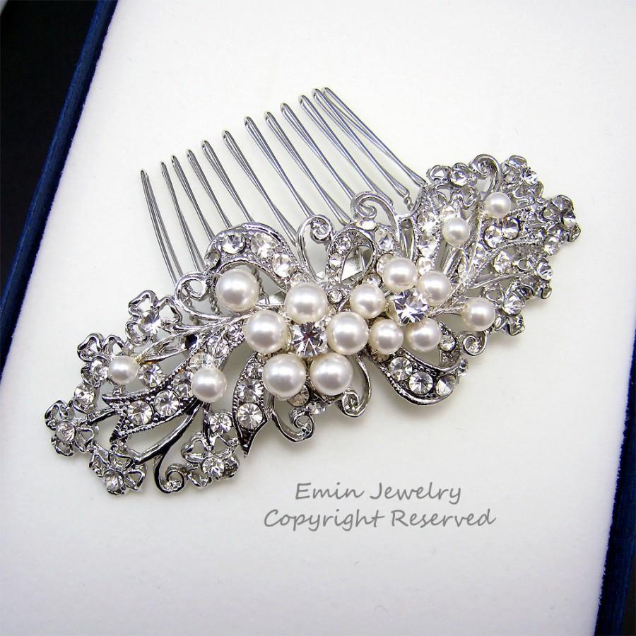 Свадьба - Wedding Hair Accessories,Bridal Hair Combs. Pearl Rhinestone Crystal Vintage Style Wedding Hair Pieces Fascinator Hair Vine H1034