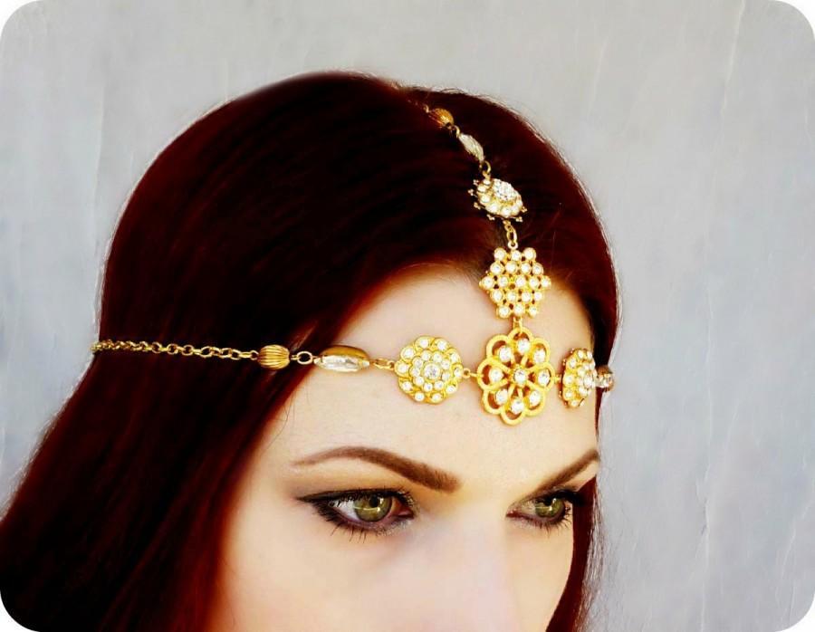 Hochzeit - Gold Rhinestone Gypsy Medieval Headdress Wedding Headpiece - Game of Thrones