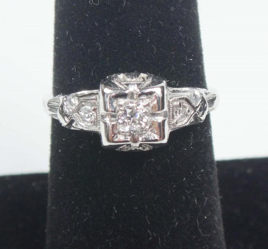 زفاف - Vintage 14k White Gold Diamond Ring 14k Old Mine Cut Diamond Ring Vintage Diamond Engagement Ring 1920 Art Deco PreEngagement Promise Ring