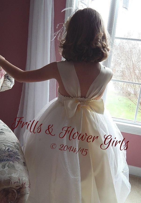 Свадьба - Ivory Flower Girl Dress Chiffon Cut Lace with Swarovski Rhinestone Tulle Dress for Flower Girls Sizes 2T, 3T, 4T up to Girls size 7