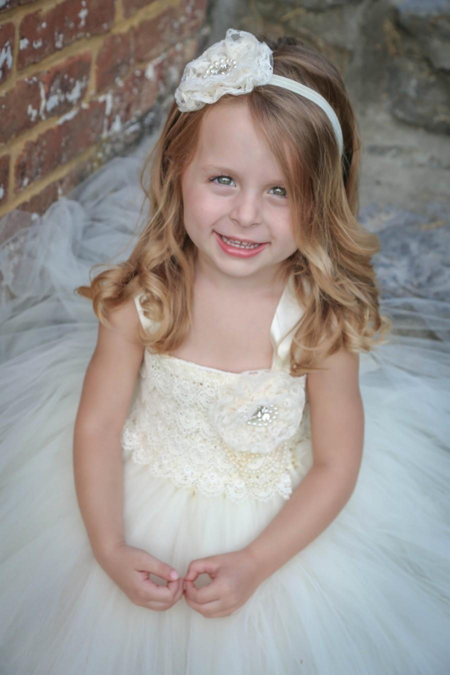 Mariage - Ivory Lace Flower Girl Dress