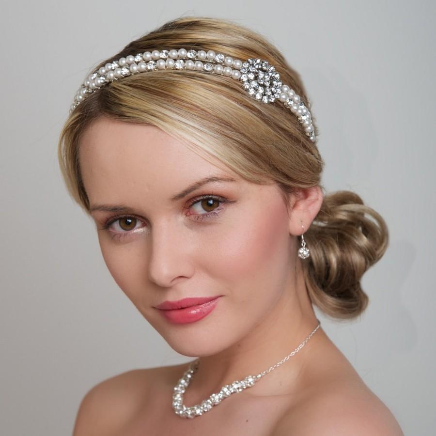 Свадьба - Wedding Headband - Double Pearl Headband 2 rows Swarovski Pearls - Double Band Diamante Rhinestone Crystal, bridal Headpiece, Side tiara
