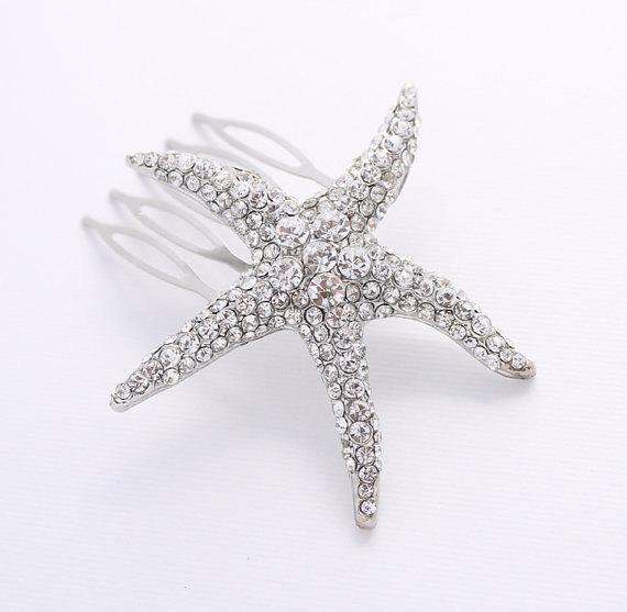Свадьба - Starfish Hair Comb Beach Wedding Bridal Hairpiece Rhinestone Silver Starfish Comb Hair Jewelry Wedding Combs
